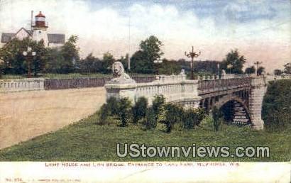 Light House & Lion Bridge - MIlwaukee, Wisconsin WI Postcard