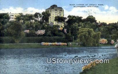 Duck Lagoon, Juneau Park - MIlwaukee, Wisconsin WI Postcard