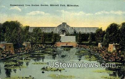 Conservatory, Sunken Garden, Mitchell Park - MIlwaukee, Wisconsin WI Postcard