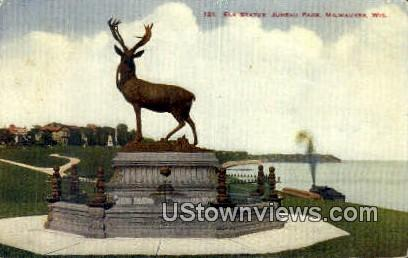 Elk Statue Juneau Park - MIlwaukee, Wisconsin WI Postcard