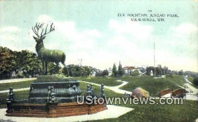 Elk Fountain, Juneau Park - MIlwaukee, Wisconsin WI Postcard
