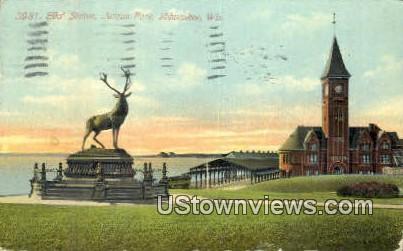 Elk's Statue, Juneau Park - MIlwaukee, Wisconsin WI Postcard