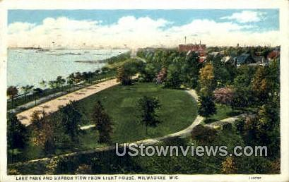 Lake Park, Lighthouse - MIlwaukee, Wisconsin WI Postcard