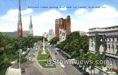 Wisconsin Ave, Library - MIlwaukee Postcard