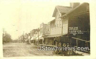 Real Photo - West Side Water St - Albany, Wisconsin WI Postcard