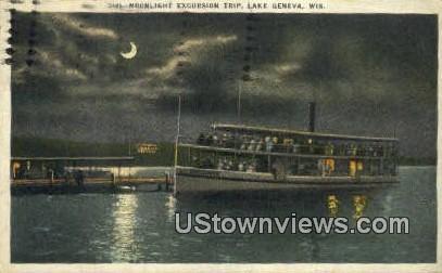 Exvursion Trip - Lake Geneva, Wisconsin WI Postcard