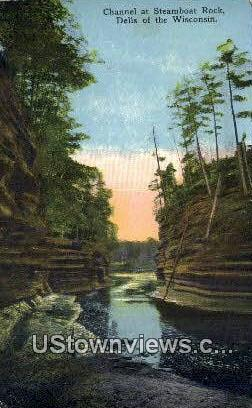 Channel, Steamboat Rock - Dells Of The Wisconsin Postcards, Wisconsin WI Postcard