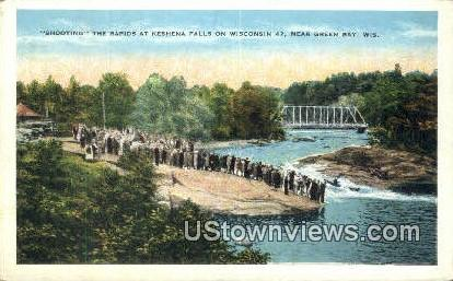 Shooting, Keshena Falls - Green Bay, Wisconsin WI Postcard
