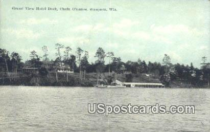 Grand View Hotel Dock - Waupaca, Wisconsin WI Postcard