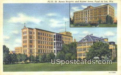 St Agnes Hospital & Nurses Home - Fond du Lac, Wisconsin WI Postcard
