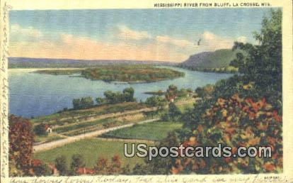 Mississippi River, Bluff - La Crosse, Wisconsin WI Postcard