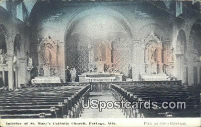 St Mary's Catholic Church - Portage, Wisconsin WI Postcard