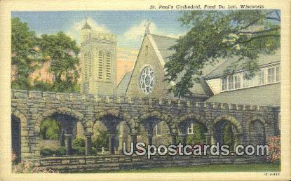 St Paul's Cathedral - Fond du Lac, Wisconsin WI Postcard