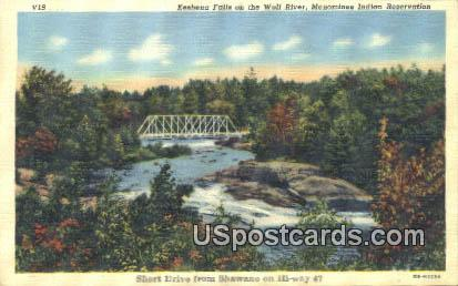 Keshena Falls, Wolf River - Menominee Indian Reservation, Wisconsin WI Postcard