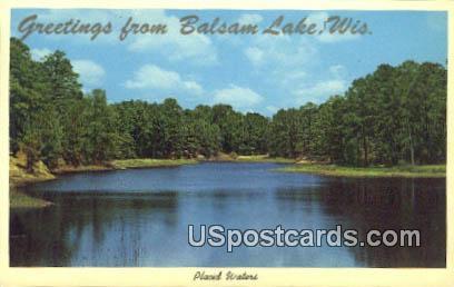 Placid Waters - Balsam Lake, Wisconsin WI Postcard