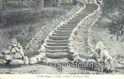 Loyola Steps, Chain O'Lakes - Waupaca, Wisconsin WI Postcard