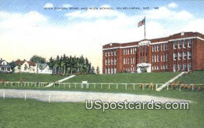 High School Bowl, High School - Rhinelander, Wisconsin WI Postcard