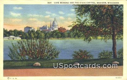 Lake Monona, State Capitol - Madison, Wisconsin WI Postcard