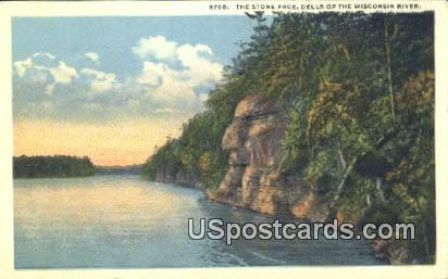 Stone Face - Dells Of The Wisconsin River Postcards, Wisconsin WI Postcard