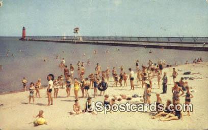 Simmons Beach, Lake Michigan - Kenosha, Wisconsin WI Postcard