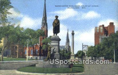 Washington Monument, Court of Honor - MIlwaukee, Wisconsin WI Postcard