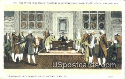 Mural, Supreme Court Room, State Capitol - Madison, Wisconsin WI Postcard
