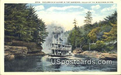 Excursion Steamer, Narrows - Dells Of The Wisconsin River Postcards, Wisconsin WI Postcard