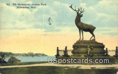 Elk Monument, Juneau Park - MIlwaukee, Wisconsin WI Postcard