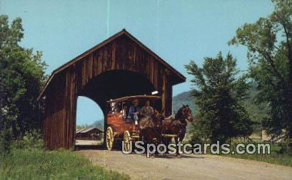 Covered Bridge, Stonefield Village - Cassville, Wisconsin WI Postcard