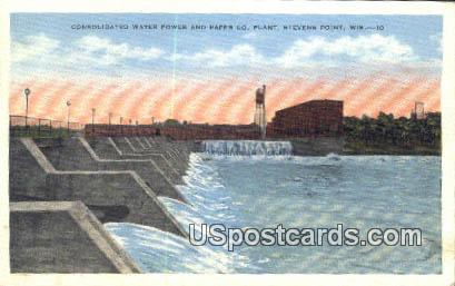 Consolidated Water Power & Paper Co Plant - Stevens Point, Wisconsin WI Postcard