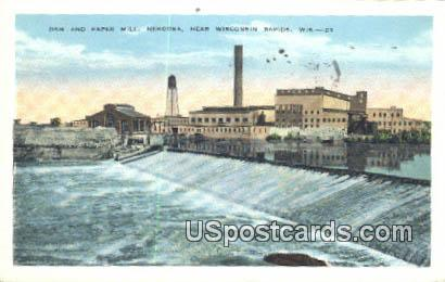 Dam & Paper Mill - Nekoosa, Wisconsin WI Postcard