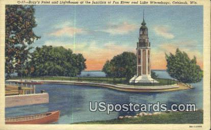 Bray's Point & Lighthouse - Oshkosh, Wisconsin WI Postcard