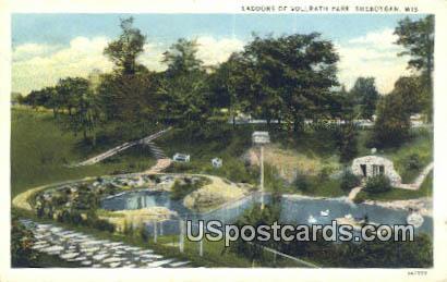 Lagoons of Vollrath Park - Sheboygan, Wisconsin WI Postcard