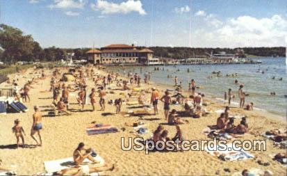 Municipal Bathing Beach - Lake Geneva, Wisconsin WI Postcard