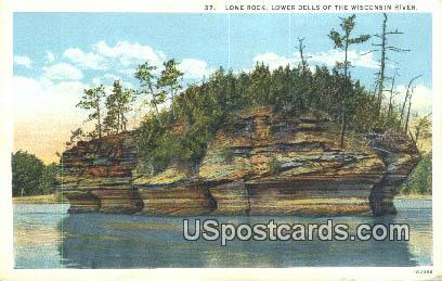 Lone Rock - Lower Dells of the Wisconsin River Postcards, Wisconsin WI Postcard
