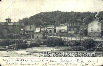 Yellow River & Main Street - Necedah, Wisconsin WI Postcard