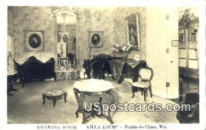 Drawing Room, Villa Louis - Prairie Du Chien, Wisconsin WI Postcard
