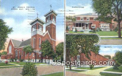 St John's Church - Green Bay, Wisconsin WI Postcard
