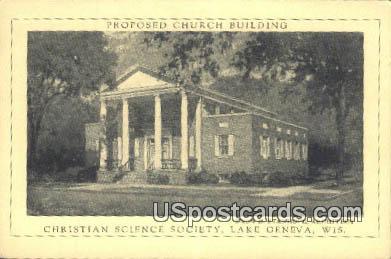 Christian Science Society - Lake Geneva, Wisconsin WI Postcard
