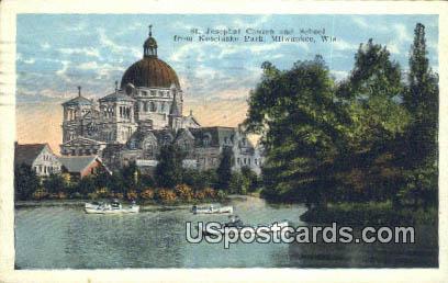 St Josephat Church & School - MIlwaukee, Wisconsin WI Postcard