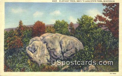 Elephant Rock - Devil's Lake State Park, Wisconsin WI Postcard
