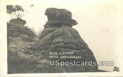 Real Photo - Rock Scenery - Basswood, Wisconsin WI Postcard