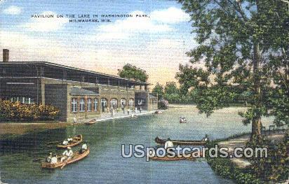 Pavilion, Lake in Washington Park - MIlwaukee, Wisconsin WI Postcard
