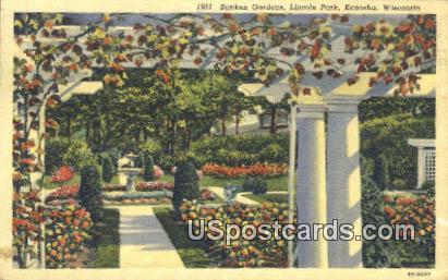 Sunken Gardens, Lincoln Park - Kenosha, Wisconsin WI Postcard