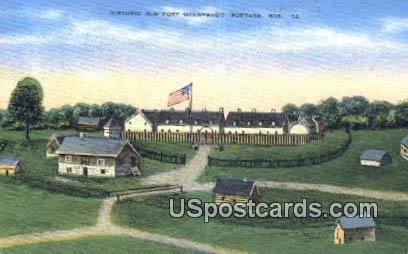 Historic Old Fort Winebago - Portage, Wisconsin WI Postcard