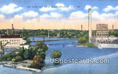 Fox River & Paper Mills - Appleton, Wisconsin WI Postcard