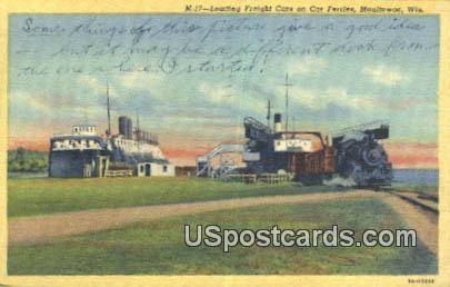 Loading Freight Cars - Manitowoc, Wisconsin WI Postcard