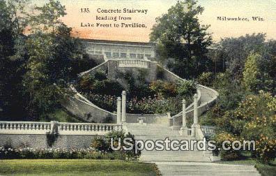 Concrete Stairway - MIlwaukee, Wisconsin WI Postcard