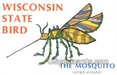 Mosquito - State Bird, Wisconsin WI Postcard