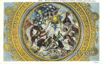 Mural, State Capitol - Madison, Wisconsin WI Postcard